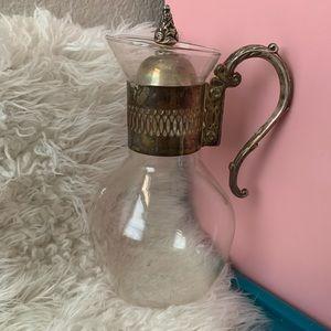 Vintage Glass Ornate Silver Handle Jug Carafe